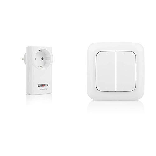 Smartwares SH5-RPS-36A SmartHome Funk-Steckdose 3600 Watt & SH5-TSW-B SmartHome Funk-Doppelwandschalter 2-Kanal
