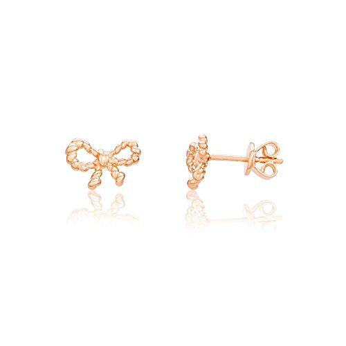 Eye Candy Damen-Ohrstecker Ohrringe Schleife 925 Sterling Silber Rosegold vergoldet ECJ-ER0125
