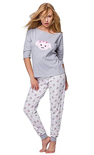 SENSIS Edler Baumwoll-Pyjama Hausanzug aus schickem Oberteil und toller Hose, Made in EU (M (38), Schweinchen)