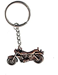 Motor Bike Shape Bronze Metallic Key Chain Full Metal Keyring For Car And Bike