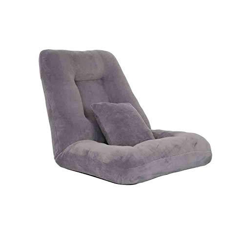 Sunny Lounge Schlafsofa Folding Einzelrückenkissen, Einstellbare 14-Position Bodenliege Schläfer Futon Matratze Sitz Stuhl (Farbe : Gray)