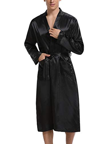 Hawiton Herren Morgenmantel Lang Satin Bademantel Kimono Robe Nachtwäsche V Ausschnitt mit Gürtel Schwarz L