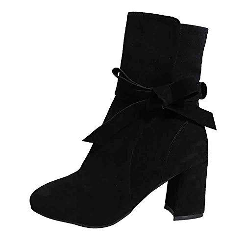 Junjie Damen Wildleder Bow High Heel Stiefel Thick Heel Seitlichem Reißverschluss Soft Thick High Heel Plateaustiefel Vergrößern In Boots Schuhe Stiefel Mädchen Chelsea Boots Schwarz, Braun, Grau