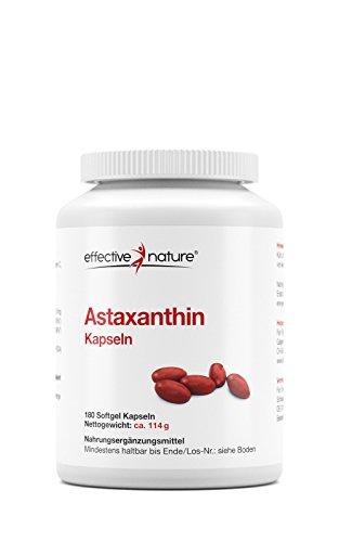 effective nature Astaxanthin Kapseln - 180 Stück - Natürliches Astaxanthin aus Mikroalgen - Hilft bei Müdigkeit