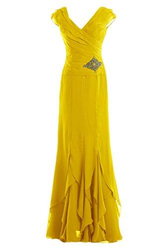 Gorgeous Bride Modisch V-Ausschnitt Etui Chiffon Lang Abendkleid Festkleid Ballkleid Gelb