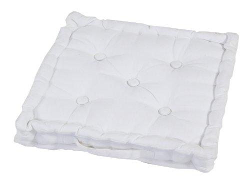Homescapes Coussin de Chaise de Couleur Blanc Fait en 100% Coton de 40x40 cm pour Chaise de Salon et Chaise de Jardin
