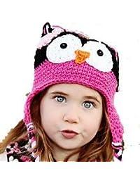 "LadyMYP©Handgemachte Strickmütze, Babymütze, Kindermütze, Hüte, 100% Wolle, Mütze ""Uhu"" - Schwarz / Lila"