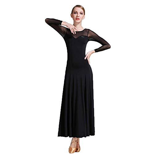 ZXYYUE Erwachsene Mädchen Modern Dance Rock Ballsaaltanz Kleid Mesh langärmelige Perspektive Praxis Training Tanzkostüm Schiedsrichter Kleidung,Black,L