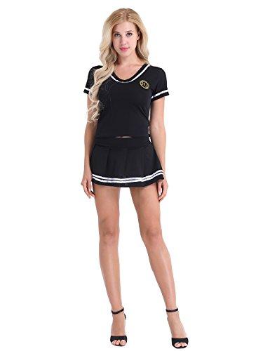 Freebily 3tlg Schulmädchen Uniform Kostüm Cheerleading Tops Cosplay Kostüm Dessous Outfit Kurzarm T-Shirt Top mit Minirock G-String Schwarz 4XL
