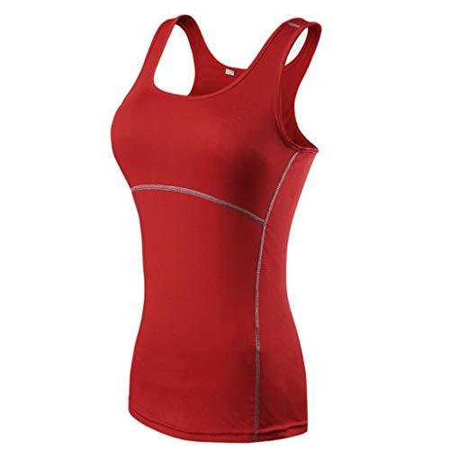PFSYR Sportsweste für Damen Fitness-Laufweste für Damen Enges Training, schnell trocknende Kleidung Ärmellose Weste für Frauen, Yoga-Tanz (Farbe : Deep red, größe : M)