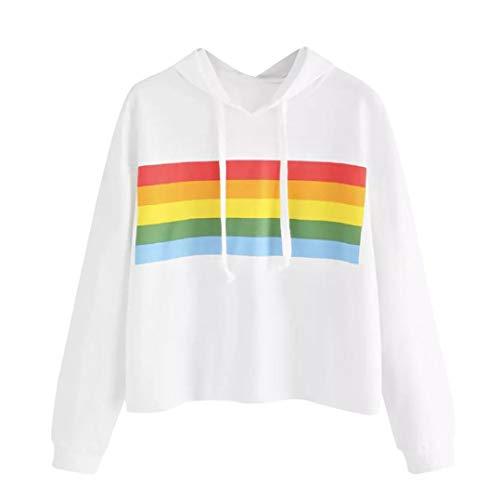 Qmber Damen Shirts Tees Tops Oberteile Oversize Pullover Sweatshirts Pulli Hoodie Elegant Hemden Langarm Blusen Tuniken, Lässige Bunte Gestreifte Platte(XL,Weiß5