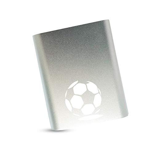 Fussball Powerbank 10400 mAh, starke Kapazität, externer Akku, sehr leicht, extra kompakt, 2A Output, Ladegerät für Handy & Smartphone: Huawai Samsung Motorola iPhone iPad Tablet in silber