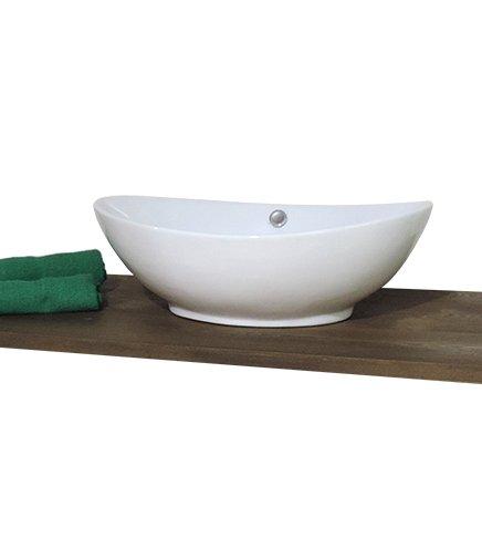 Lavabo lavandino da bagno cm.60x37x19 ovale da appoggio in ceramica bianca