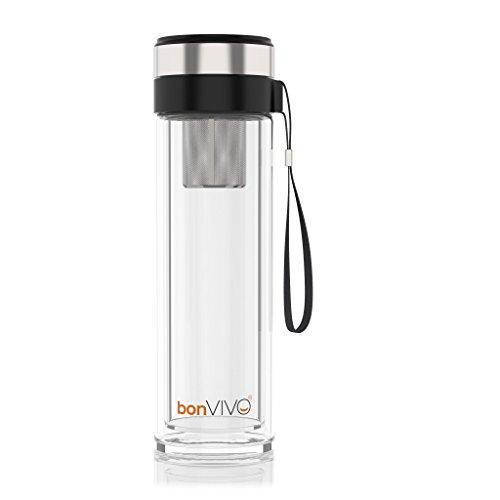 bonVIVO® VitaliTEA Glas-Trinkflasche mit Thermo-Funktion und Tea-Filter, 0,45 Liter, in Schwarz