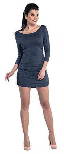 Zeta Ville - Mini robe moulante avec fronces Top Shirt Tunique - Femme - 973z Bleu Gris