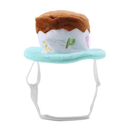 GLOGLOW Justierbarer Haustier-Hut, dekorative glänzende Spitze Hunde-Katzen-Sonnenblende-Haarballen-Kappe für Festival-Party(S- Grün) (Spitze Hüte Dekorative)
