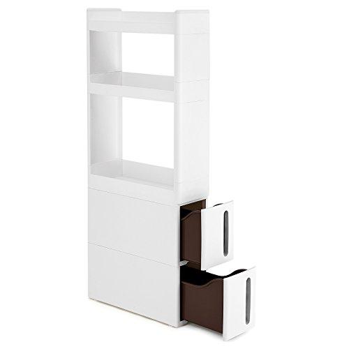 SONGMICS Nischenwagen schmal in Weiß mit 3 Ablagefächern 2 Schubladen Nischenschrank mit Rollen für Küche Bad Keller 17 cm breit KFR06WT