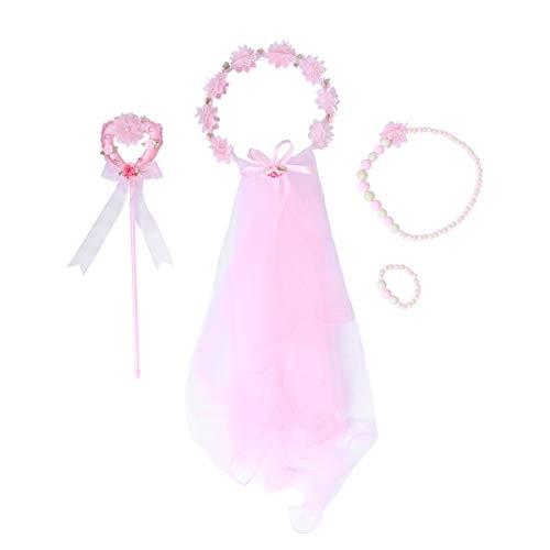 Lurrose 4 stücke Blumenmädchen Stirnband mit Schleier Prinzessin Angel Stick Halskette Armband Fee Kostüm Sets für Mädchen Kinder Geburtstag Hochzeit (Rosa)