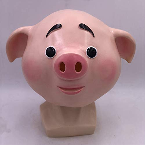 Happy Pig Mask Halloween Neuheit Tierkopf Maske Latex Maske Cute Pig Rollenspiele (Halloween Cute Make-up)