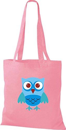 ShirtInStyle Jute Stoffbeutel Bunte Eule niedliche Tragetasche mit Punkte Owl Retro diverse Farbe, schwarz rosa