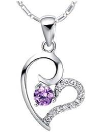 findout or blanc 18 carats plaqué Amethyst Diamond Heart Collier en argent