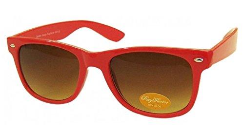 NEON ROT RETRO Fashion Designer Geek Nerd NHS Big Rave Party Brille groß Wayfarer Hot (Medium Größe)