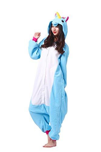Magicmode Unisexe Dessins D'Animaux Kigurumi Pyjamas Adultes Grenouillère Anime Hoodie Cosplay Pyjamas Bleu Licorne L