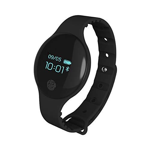 JINRU Braccialetto Intelligente per Bambini OLED Schermo a Colori Bluetooth in Silicone Orologio Sport pedometro Fitness (Adulto),Black