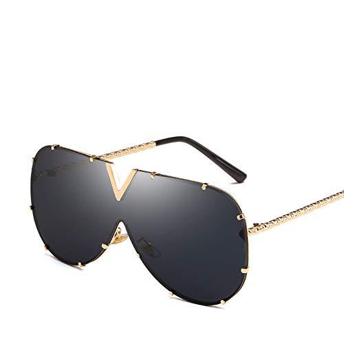ZJWZ Europa und die Vereinigten Staaten New contrat Ocean Piece Sonnenbrille Trend Lady Metal Sonnenbrillen Big Box Sonnenbrille Männer,NO1