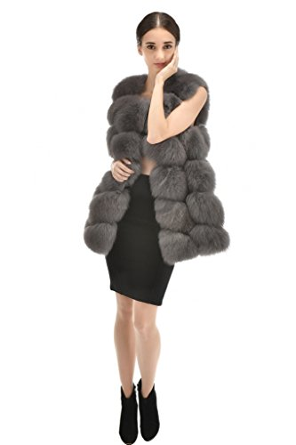 OLLEBOBO Vera Pelliccia Gilet Donna Volpe Fur Sleeveless Senza Maniche Grigio