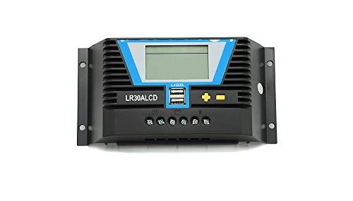 WATTSTUNDE Solar Laderegler 30A LR30ALCD mit Dual USB-Anschluss und LCD-Anzeige für 12V / 24V (LR30A LCD)