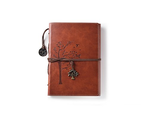 Valery Journal intime vintage, cahier rechargeable, carnet de notes & voyage ligné format A5, bloc-notes avec 96 feuilles et 192 pages, papier sans acide - Marron