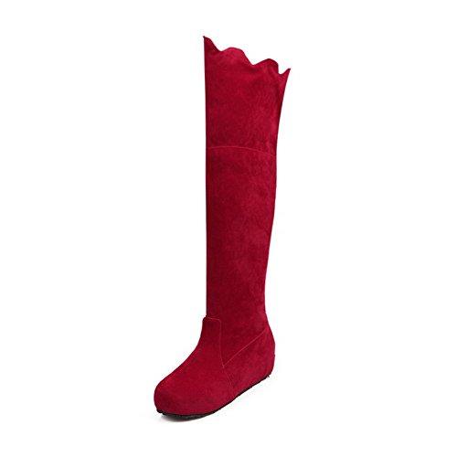 AllhqFashion Damen Ziehen auf Rund Zehe Mittler Absatz Hoch-Spitze Stiefel, Rot, 40