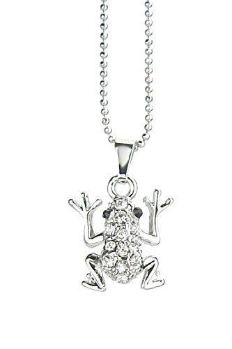 Kette silber Strass Frosch Anhänger by Ella Jonte kurze Halskette frog pendant