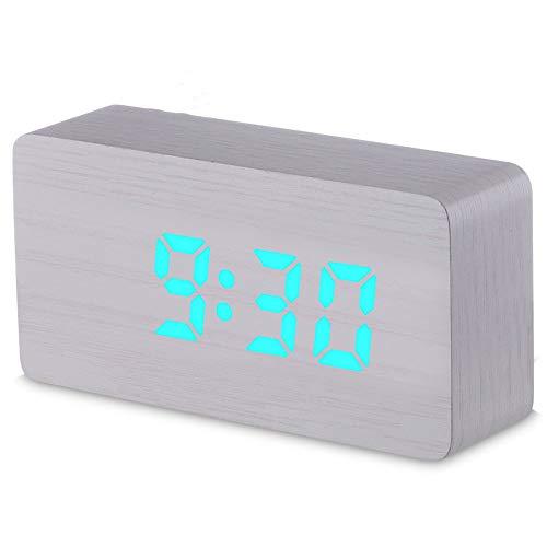 GYCZC Teléfono Móvil Que Carga Color Colorido Reloj De Madera Temperatura Snooze Luz De Noche Led...