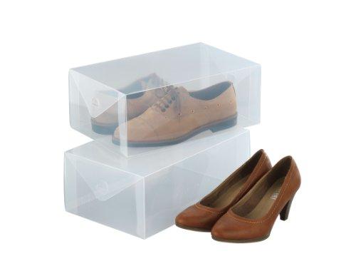 WENKO 6020100 Aufbewahrungsbox für Schuhe, 2er Set, Polypropylen, 34 x 13 x 21 cm, Transparent