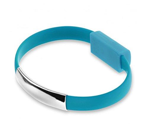 BRACCIALE CAVO DATI USB PER SMARTPHONE SAMSUNG CON FUNZIONE DI CARICABATTERIA IN SILICONE COLORATO UNISEX. MWS (CELESTE)