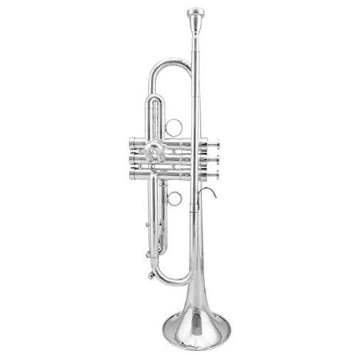 LVSSY-Trompete Messing Bb Eben Silber Metallic Schnabel Mit Stoß- Rucksack Handschuhen 7 C Mundstück Trompete Cleaning Kit