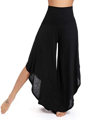FITTOO Pantaloni Yoga da Donna Larghi Largo Gamba Larga Eleganti Vita Alta, Nero, S
