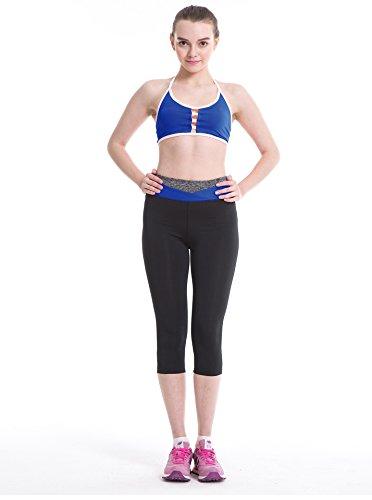 Fliegend Leggings Mujer 3/4 Pantalones de Yoga Cintura Alta Mallas Color Patchwork Push Up Fitness Leggins Elásticas Pantalones Deportivos