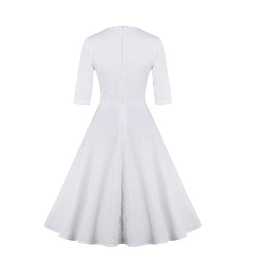 IMUYI 1950 Femmes Vintage Broderie manches demi Rockabilly Balançoire Party Robe Blanc