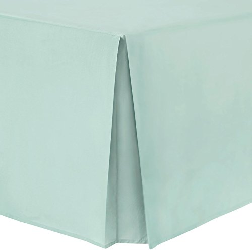 Easy Care Plain Dyed Polycotton Box Pleated Base Platform Valance Bed Sheet with 40cm (16 inch) Skirt - Double - Duck Egg