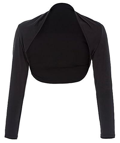 Fashion Damen Bolero Langen Ärmeln modal bolero Shrug schwarz Größe XL BP114-1