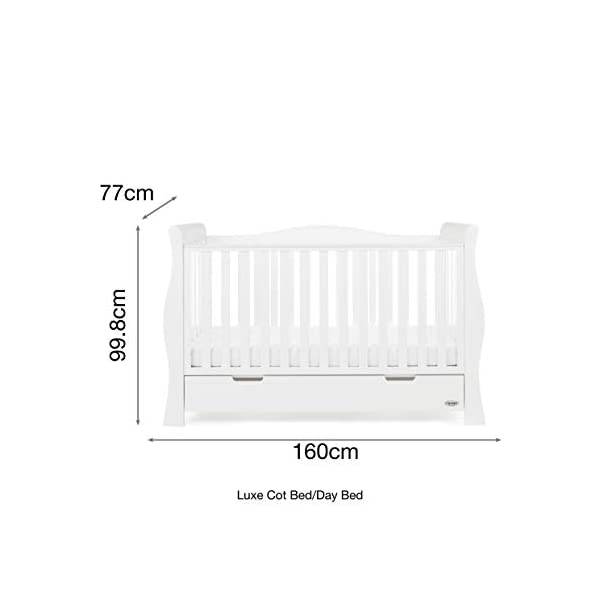Obaby Stamford Sleigh Luxe Cot Bed - White Obaby Adjustable 3 position mattress height Bed ends split to transforms into toddler bed Includes matching under drawer for storage 8