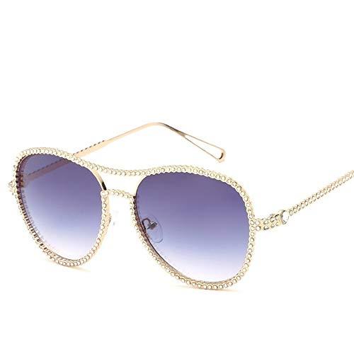 MJDABAOFA Sonnenbrillen,Neue Blink Oval Glatte Gläser Gold Gestell Grau Objektiv Mode Mit Großem Rahmen Elegance Lady Spiegel Plain Gläser Strahlenschutz Gläser Uv 400