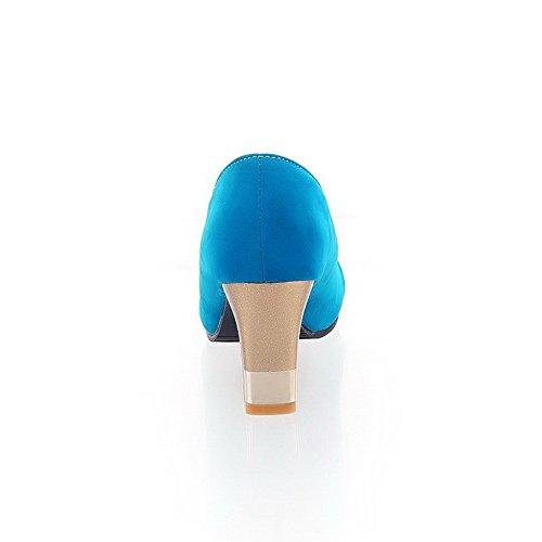 AllhqFashion Femme Ouverture Petite Tire Dépolissement Couleur Unie à Talon Haut Sandales à Talons Hauts Bleu