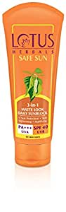 Lotus Herbals Safe Sun 3-in-1 Matte Look Daily Sunblock, SPF 40, 100g