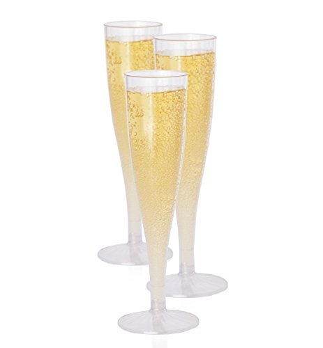 Premium Hard Champagnergläser aus Kunststoff von Oasis Creations (5,7oz) klar Stem Tassen-Top Qualität Geburtstag, Hochzeit und andere Feiern Supplies