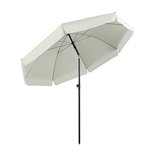 Sekey® sombrilla Parasol para terraza jardín Playa Piscina Patio diámetro 240 cm Protector Solar UV25+ Crema