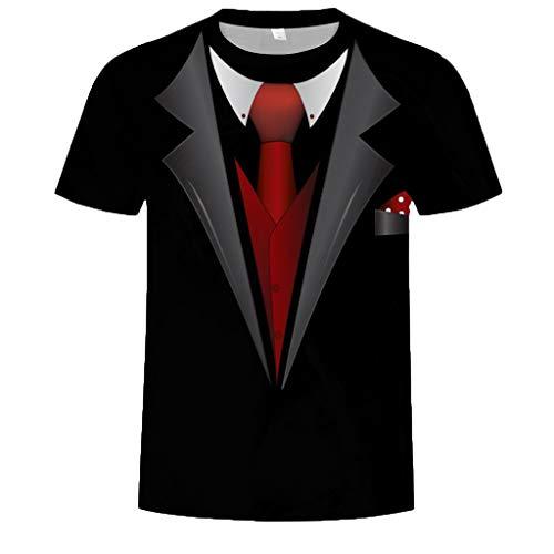 T-Shirt für Herren mit Smoking-Aufdruck,Saingace Herren T-Shirt Falscher Anzug mit Krawatte